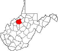 Map of West Virginia highlighting Ritchie County