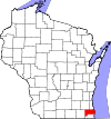 State map highlighting Racine County
