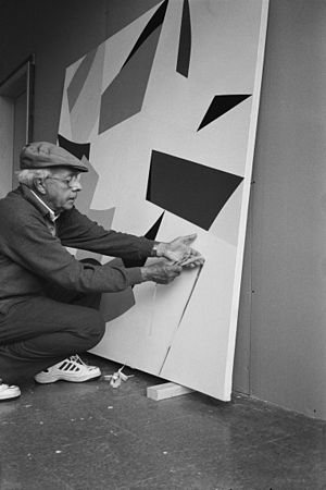 Marcel Barbeau - Marcel-Barbeau at his atelier in Estrie, Sutton, Quebec in 2001
