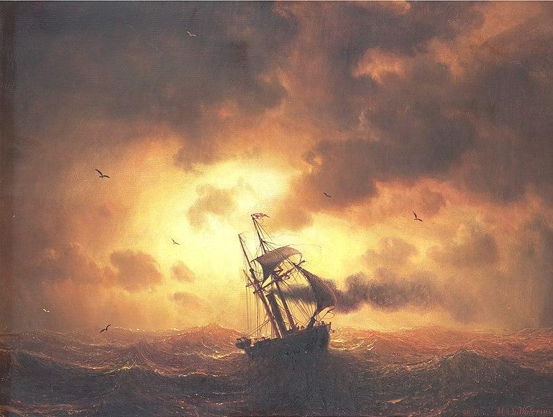 File:Marcus Larson-Angfartyg i solnedgang.jpg