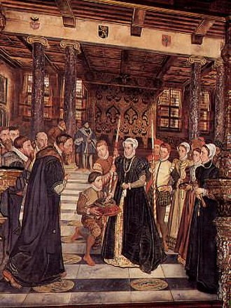 Antwerp City Hall - Margaret of Parma hands over the keys to the city, by Henri Leys