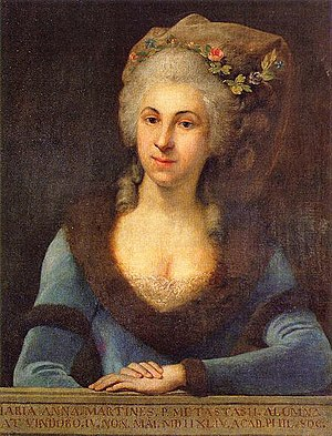 Marianna Martines - Image: Marianna Martines, Pupil of P. Metastasio; born in Vienna, 4th day of May 1744, Member Academia Filarmonica