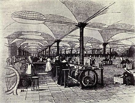 19th-century Great Britain become the first global economic superpower, because of superior manufacturing technology and improved global communications such as steamships and railroads. Marshall's flax-mill, Holbeck, Leeds - interior - c.1800.jpg