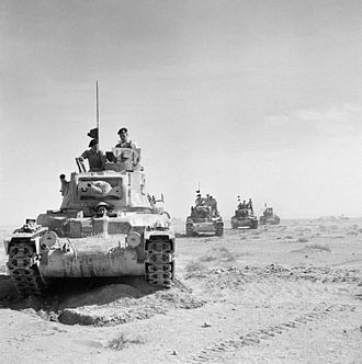 Operation Crusader - Matilda tanks on the move outside the perimeter of Tobruk, 18 November 1941.
