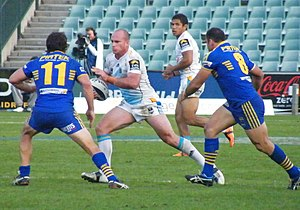 Matthew White (rugby league) - White (middle) playing for the Titans in 2011.