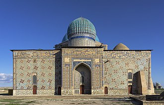 Mausoleum of Khoja Ahmed Yasawi - Backside view of mausoleum where Persian miniature painting can be best observed.