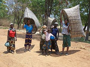 "Mbunda people - Mbunda women on a fishing expedition, carrying fishing baskets called ""Matambi"" over their shoulders"
