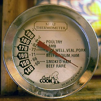 Meat thermometer - A meat thermometer with a dial. Notice the markings for each type of meat