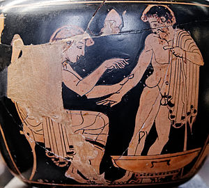 Ancient Greek medicine - Physician treating a patient (Attic red-figure aryballos, 480–470 BC)