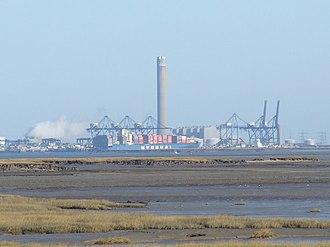 London Thamesport - London Thamesport from Gillingham over the River Medway estuary.