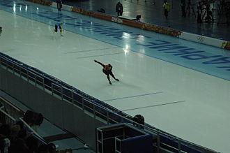 Kazakhstan at the 2014 Winter Olympics - Aleksandr Zhigin (left) riding the 1500 m