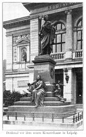 Das alte Denkmal in Leipzig, um1900 (Quelle: Wikimedia)