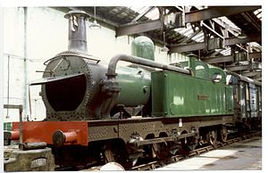 "Mersey Railway - Mersey Railway 0-6-4T No.5 ""Cecil Raikes"" at Steamport, Southport, on 30 May 1988, showing the condensing pipes"