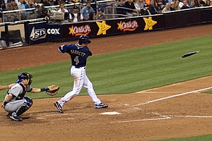 Michael Barrett (baseball) - Barrett breaks his bat while swinging at a pitch during his brief stint with San Diego.