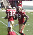 Michael Lewis & Bryant Johnson on field pregame at Eagles at 49ers 10-12-08.JPG