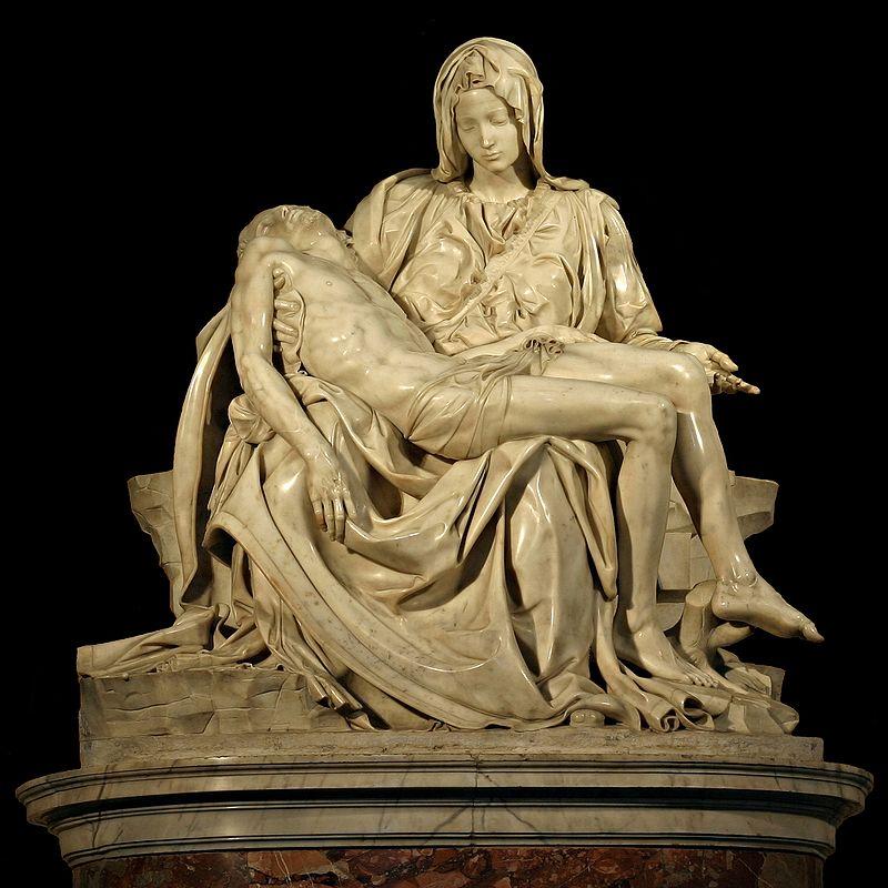 Michelangelo, Pietá, 1498-1499, St. Peter's Basilica, Vatican City. Photo by Stanislav Traykov via Wikimedia Commons (CC BY 2.5).
