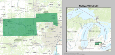 United States Congressional Delegations From Michigan Wikipedia - Us house district 13 map