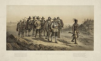 Myles Standish - An 1873 lithograph depicting the expedition against Nemasket led by Standish and guided by Hobbamock