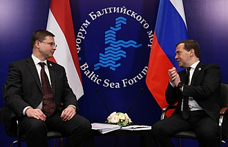Latvia–Russia relations - A meeting between the prime ministers of both countries Valdis Dombrovskis and Dmitry Medvedev during the 2013 Baltic Sea Forum