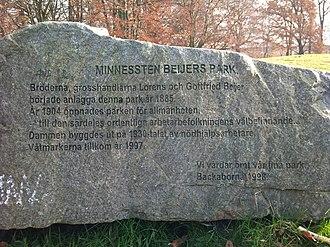 Beijers park - Image: Minnessten Beijers park, Malmö