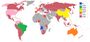 Miss Universe 2011 - Countries and territories which sent delegates and results for Miss Universe 2011