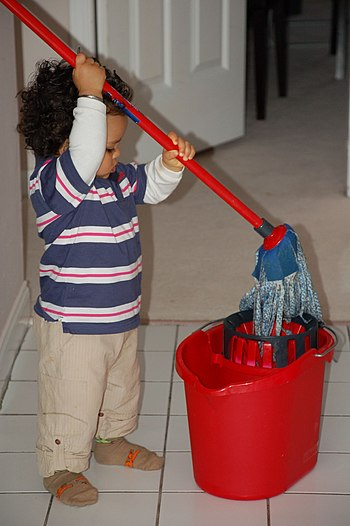 Photograph of a toddler holding a mop with a b...