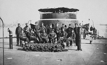 Officers of a monitor-class warship, probably USS Patapsco, photographed during the American Civil War. Monitor officers2.jpg