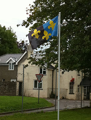 Devauden - the Flag of Monmouthshire flying at the Hood Memorial Hall