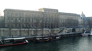 Hôtel des Monnaies, Paris - The full façade of the Monnaie de Paris, seen from Île de la Cité. The dome on the right is that of the Institut de France.