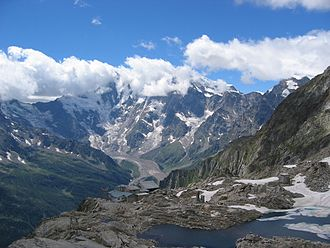 Monte Moro Pass - View of Monte Rosa from the pass