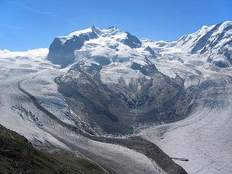 Gorner Glacier - Image: Monte Rosa Westseite gesehen Vom Gornergrat
