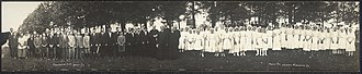 Monti, Iowa - This is a panoramic photo of the 1913 confirmation class at St. Patrick's Catholic Church in Monti.