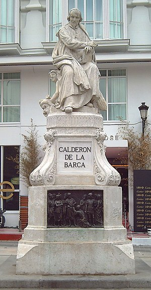 Plaza de Santa Ana - The monument to Pedro Calderón de la Barca in the plaza (Joan Figueras Vila, 1878).
