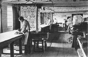 Morris & Co. - Textile printing at Merton Abbey c. 1890, from a booklet commemorating the 50th anniversary of the firm, 1911