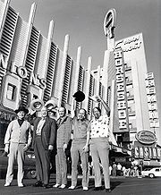 Johnny Moss, Chill Wills, Amarillo Slim, Jack Binion, and Puggy Pearson outside of Binion's Horseshoe in 1974
