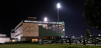 Mountaineer Casino, Racetrack and Resort - The clubhouse at the Mountaineer Park racetrack after an evening of racing.
