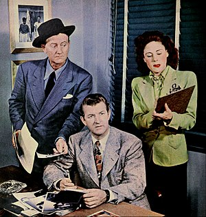 Mr. District Attorney - The cast in 1947.  From left: Len Doyle (Harrington), Jay Jostyn (the District Attorney), and Vicki Vola (Edith Miller)