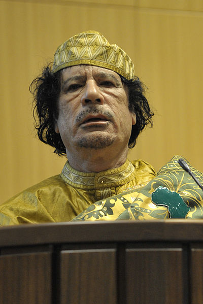 Less Than One Quarter Support Obamas Libya Bombardment 400px Muammar al Gaddafi%2C 12th AU Summit%2C 090202 N 0506A 534 cropped