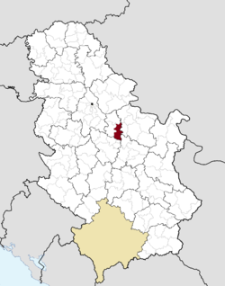 Location of the municipality of Velika Plana within Serbia