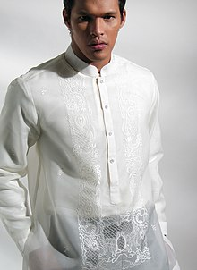 Silk Dress on The Barong Tagalog With A  Mandarin  Or  Chinese  Collar  Sometimes