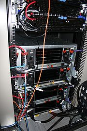 A server rack seen from the back