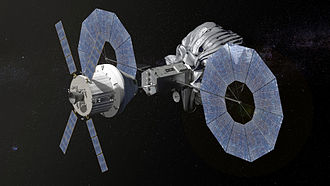 Robotic spacecraft - An illustration of NASA's planned Orion spacecraft approaching a robotic asteroid capture vehicle