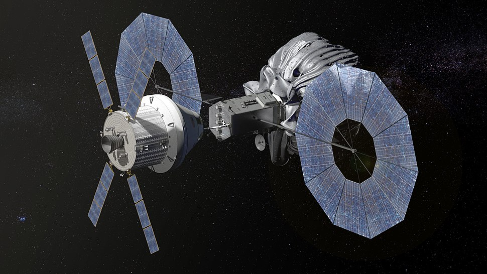 NASA's Orion spacecraft approaching the robotic asteroid capture vehicle