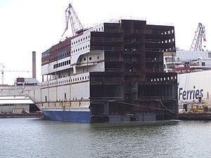 MS Baltic Princess - The forward section of Baltic Princess at Helsinki New Shipyard, March 2007.