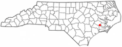 Location of New Bern, North Carolina