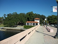 Gateway to Downtown New Port Richey, Florida on the Main Street Bridge. Sims Park pictured in background.