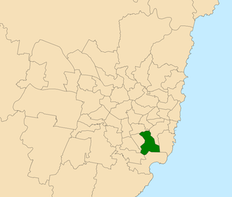 Electoral district of Rockdale - Location within Sydney