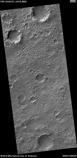 Hesperia Planum - Closeup of the surface of northwestern Hesperia Planum, as seen by HiRISE camera on Mars Reconnaissance Orbiter (MRO).