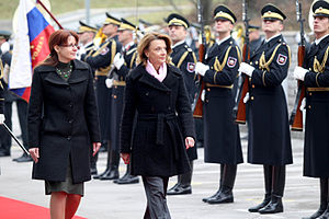 Montenegro–NATO relations - Image: Na uradnem obisku v Sloveniji ministrica za obrambo Črne gore dr. Milica Pejanović Đurišić 05