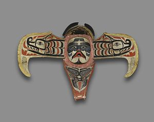 Northwest Coast art - Namgis, Thunderbird Transformation Mask, 19th century. The Thunderbird is believed to be an Ancestral Sky Being of the Namgis clan of the Kwakwaka'wakw, who say that when this bird ruffles its feathers, it causes thunder and when it blinks its eyes, lightning flashes. Brooklyn Museum